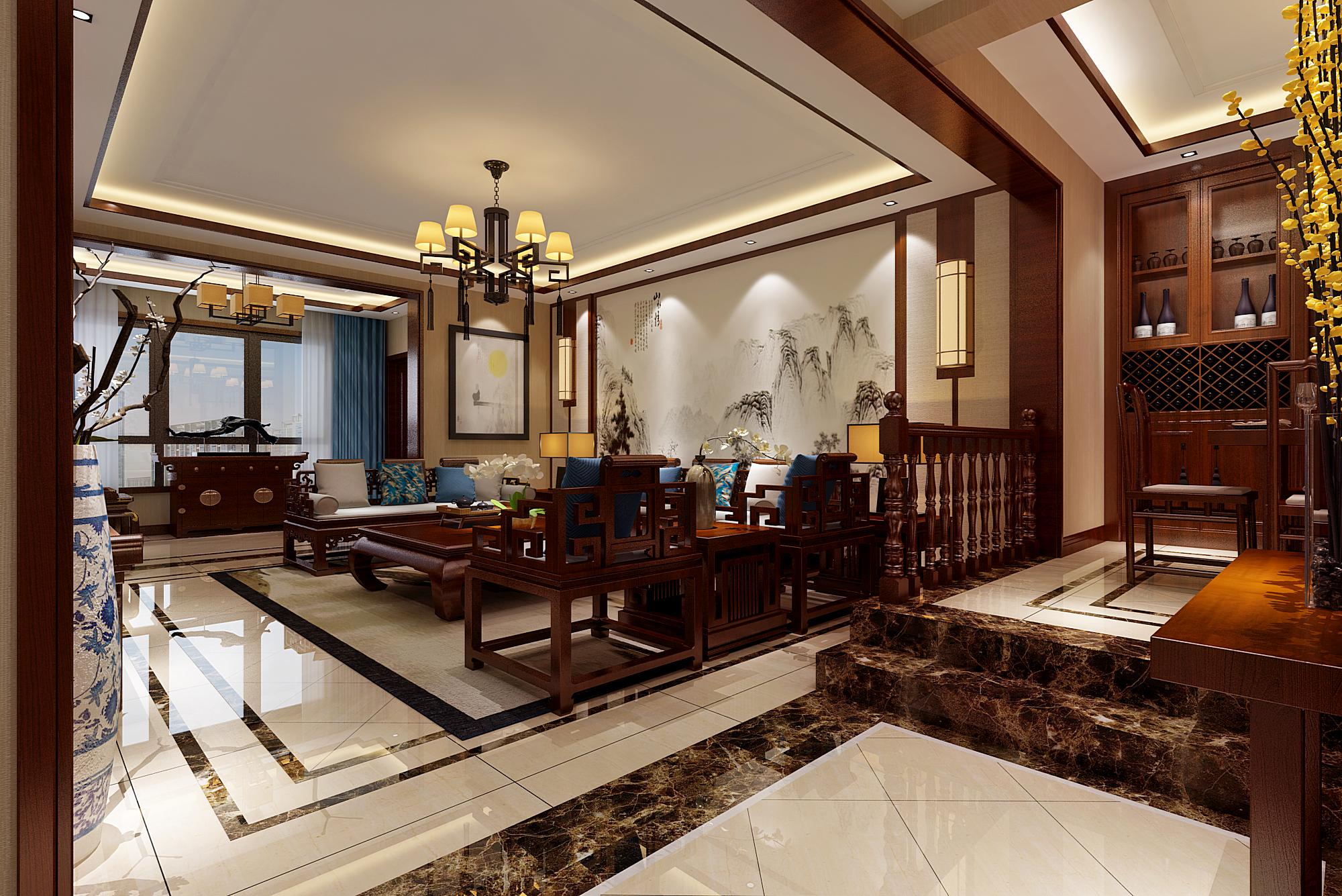 新中式风格客厅设计效果图
