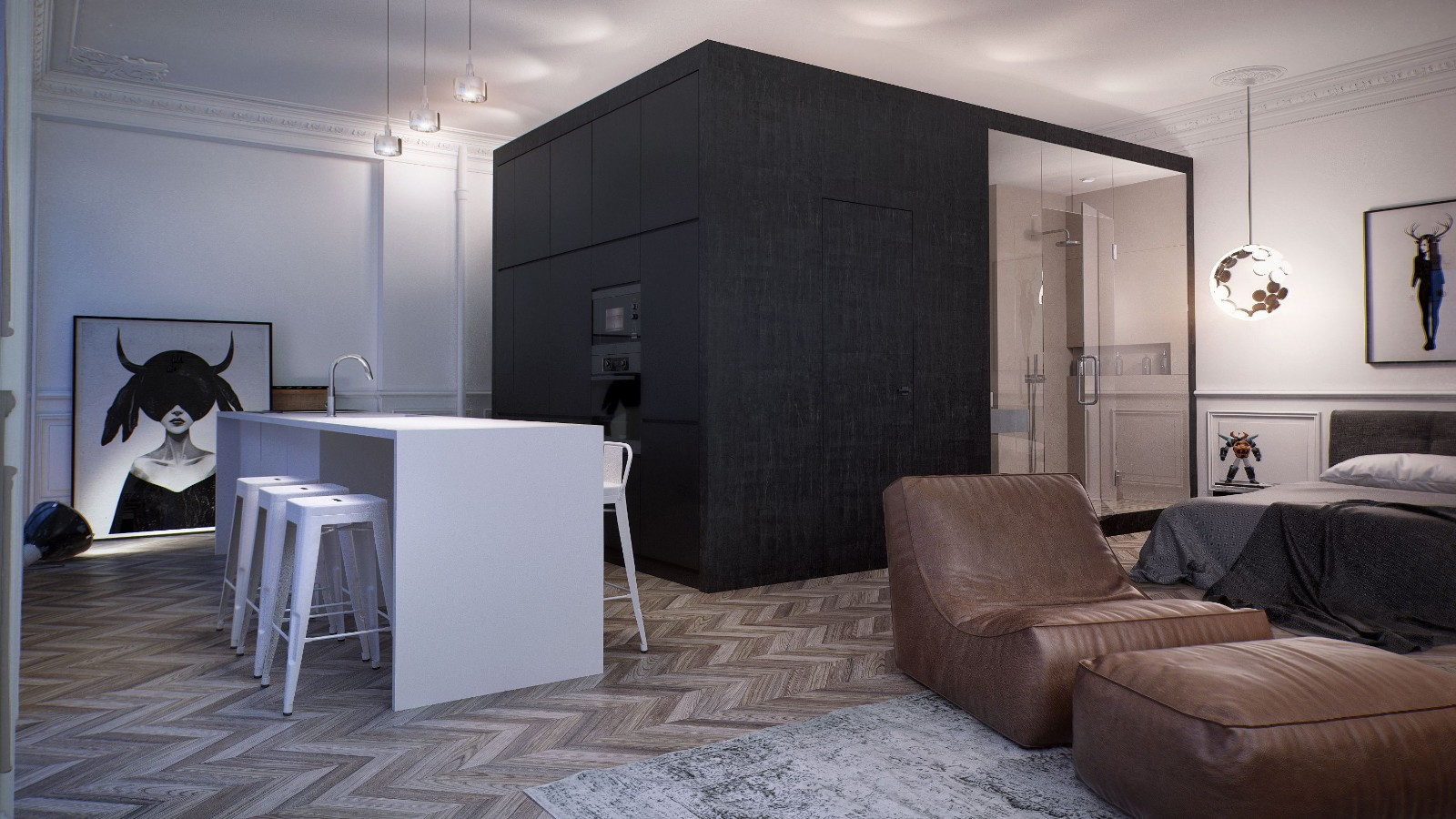 一居室简约风公寓装修效果图