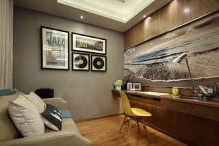 现代简约三居样板间书房装修效果图