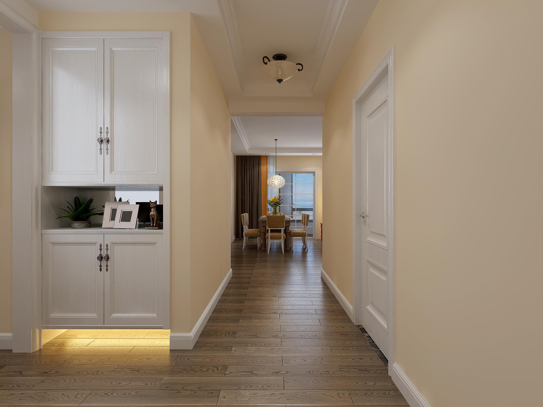 三居室美式风格玄关过道装修效果图