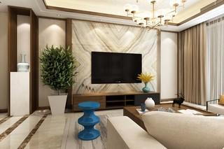 新中式风格电视背景墙装修设计效果图