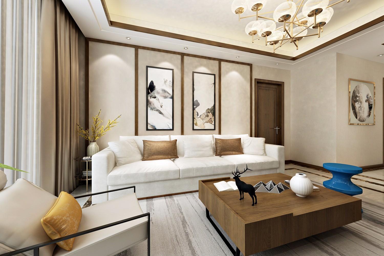 新中式风格沙发背景墙装修设计效果图