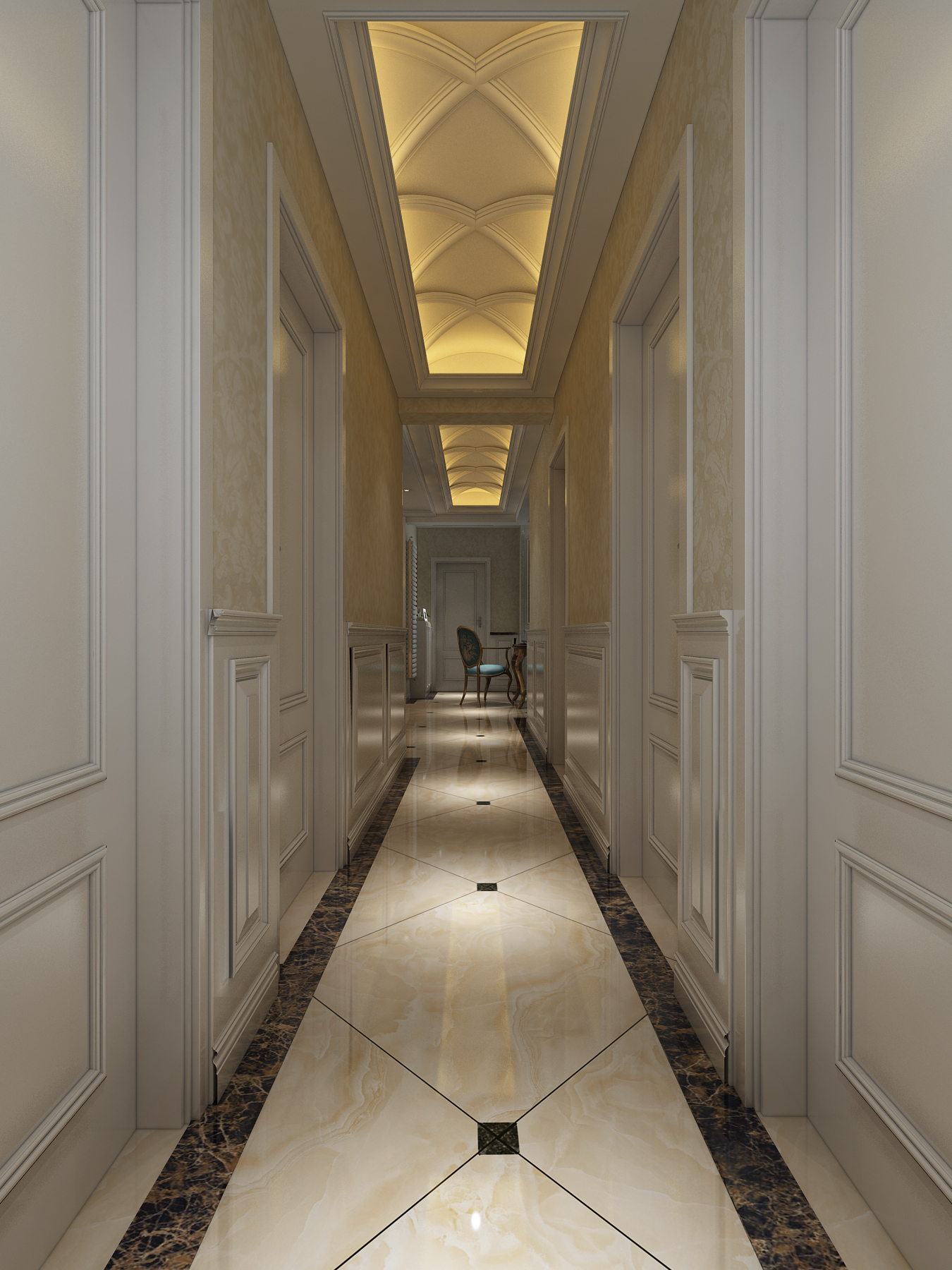 奢华欧式风格走廊吊顶装修效果图