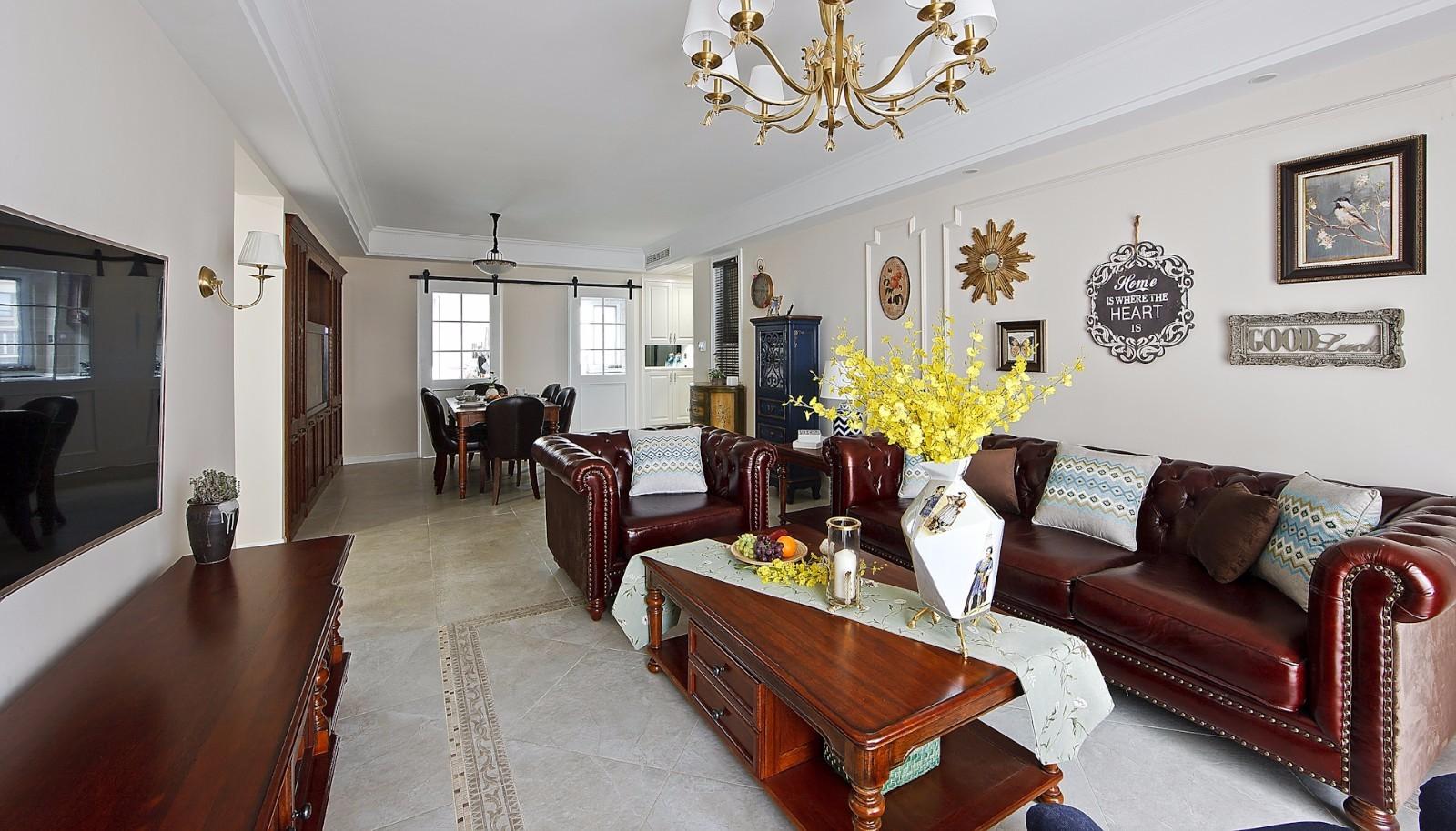 105㎡美式风格客厅装修效果图