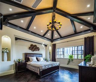 420平美式乡村风格别墅装修卧室吊顶图片