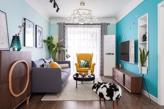 蓝色北欧风格客厅装修效果图