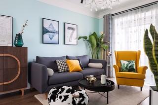 蓝色北欧风格装修沙发搭配图