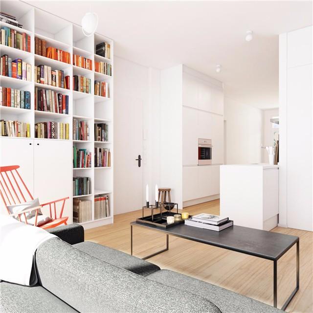 简约小户型公寓书柜装修效果图