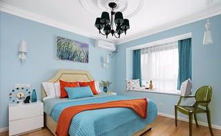 120㎡美式混搭蓝色卧室装修效果图