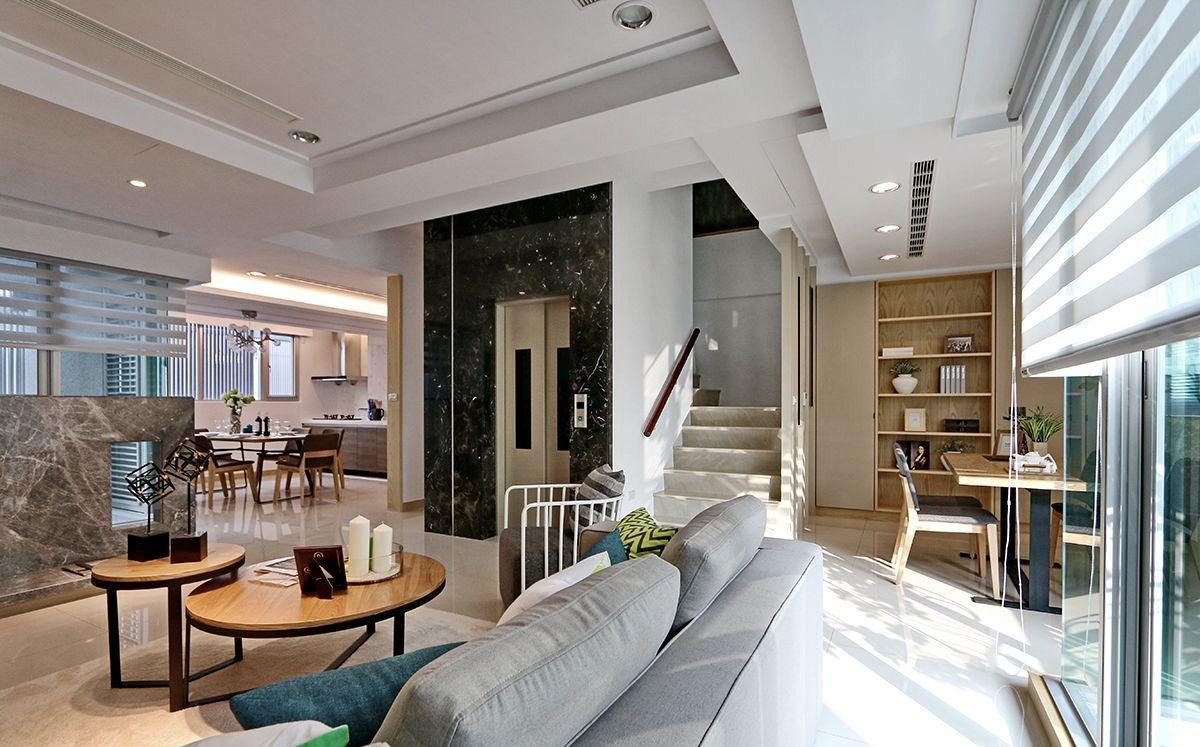 复式混搭风格客厅装修效果图