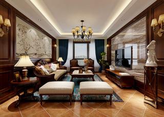 复式古典美式风格客厅装修效果图