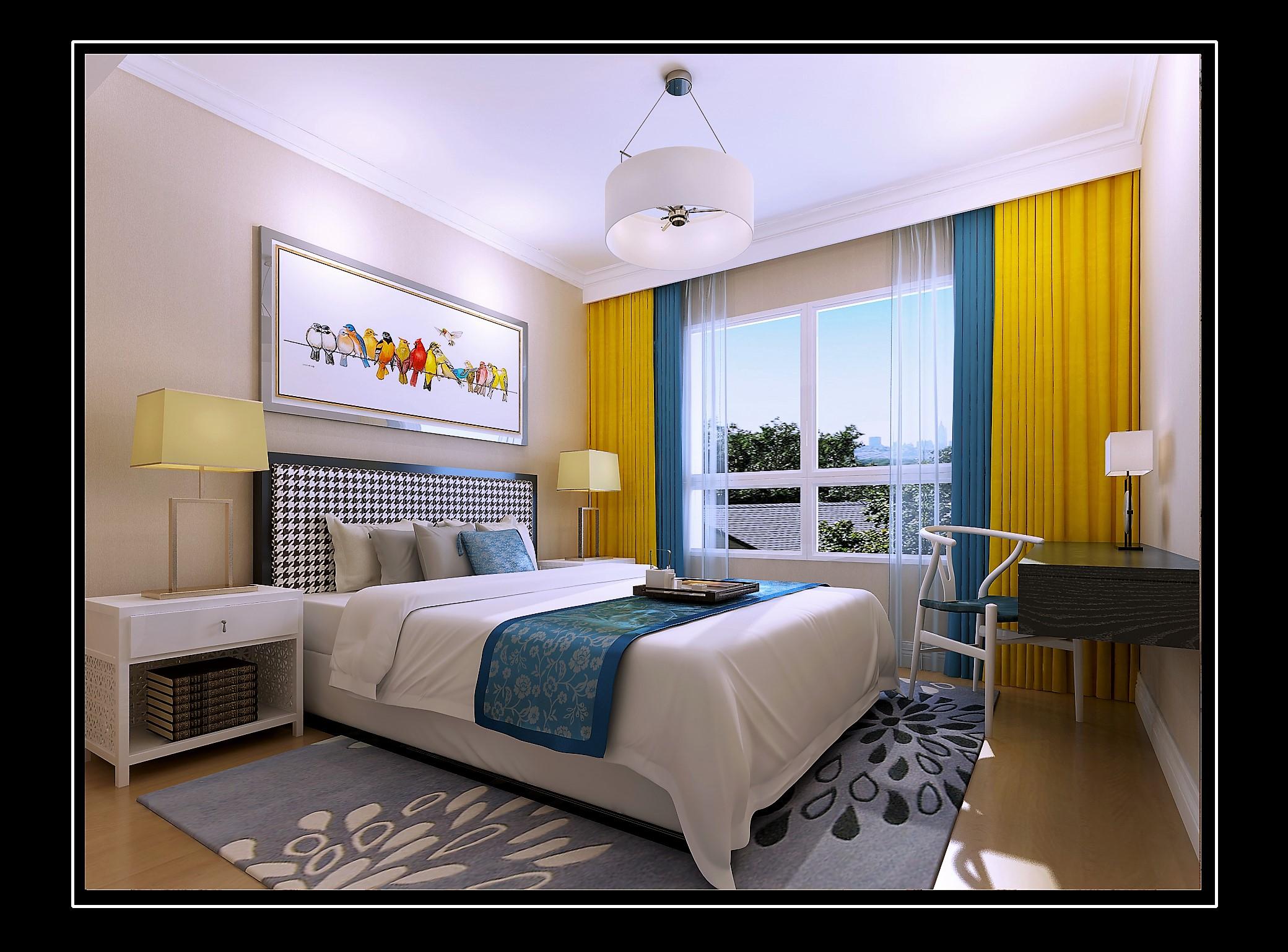 175平新中式风格卧室装修效果图