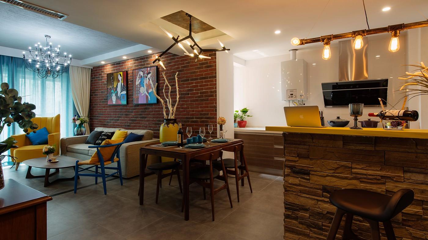 二居室混搭风格客餐厅装修效果图