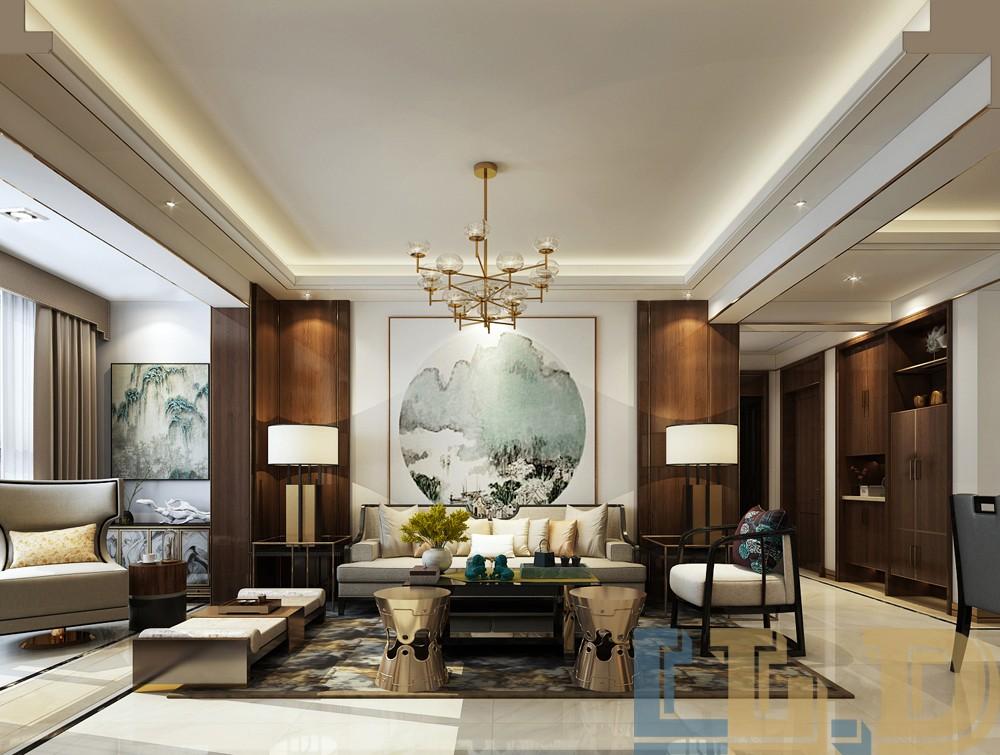 奢华新中式风格沙发背景墙装修效果图