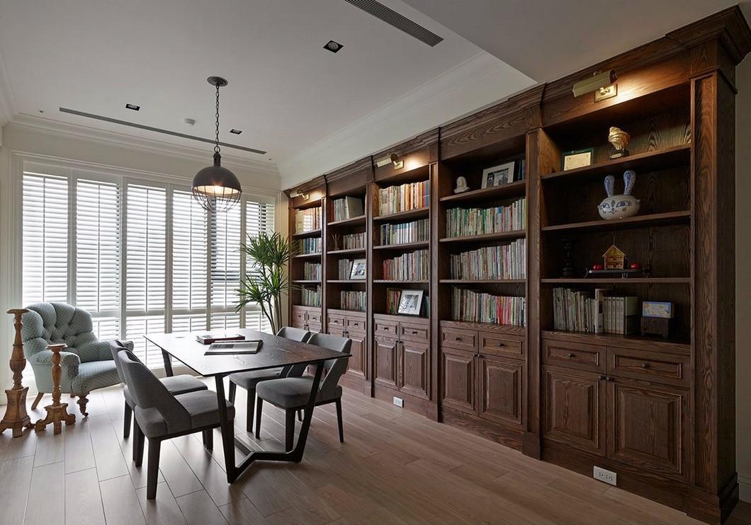 美式风格书房装修设计效果图