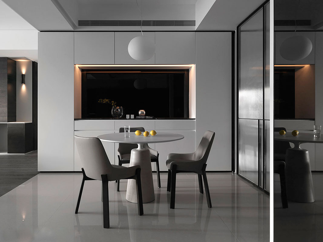 黑白灰现代简约风格餐厅装修效果图