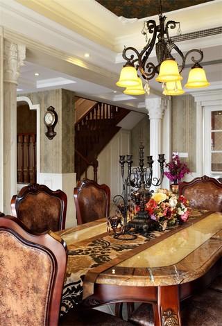 大户型复古美式风格装修餐桌设计图