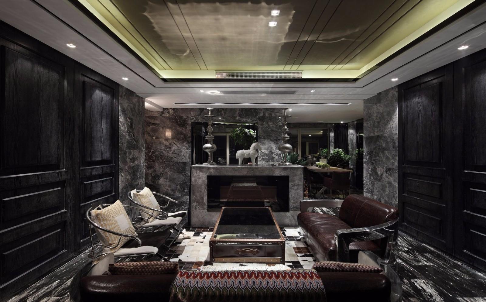 黑色调后现代风格客厅装修效果图