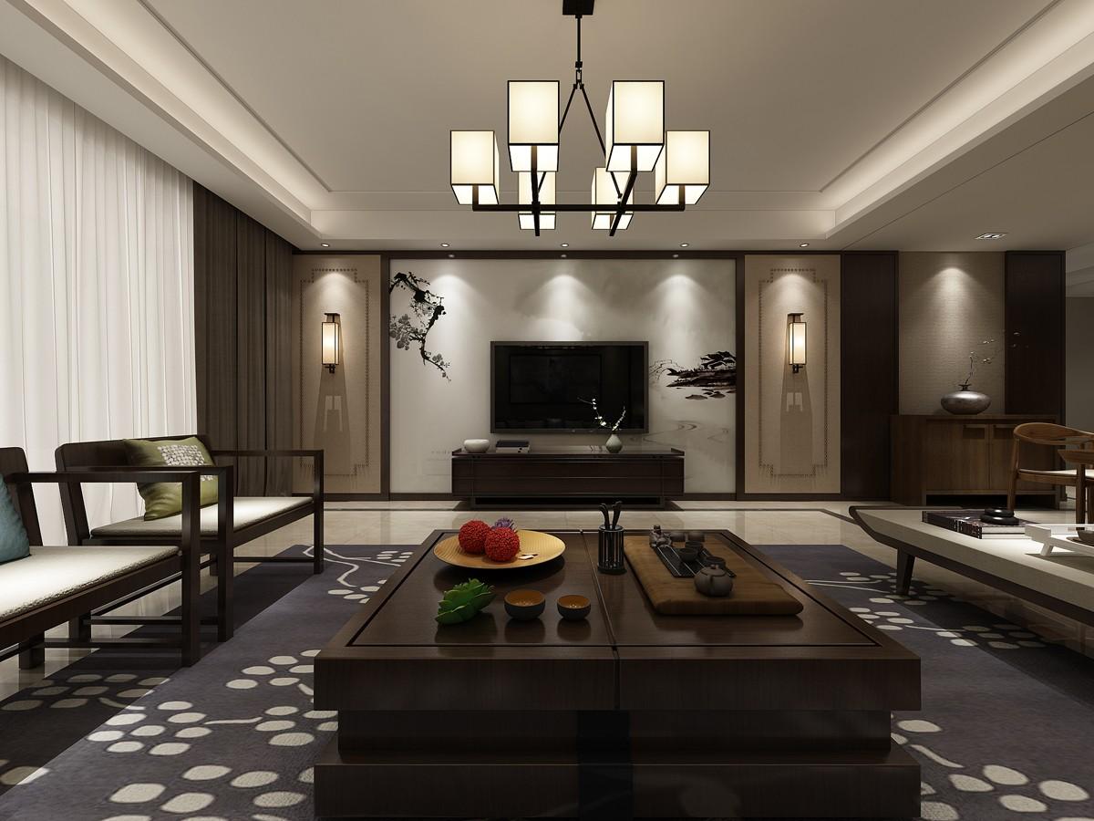 现代中式风格电视背景墙装修设计效果图