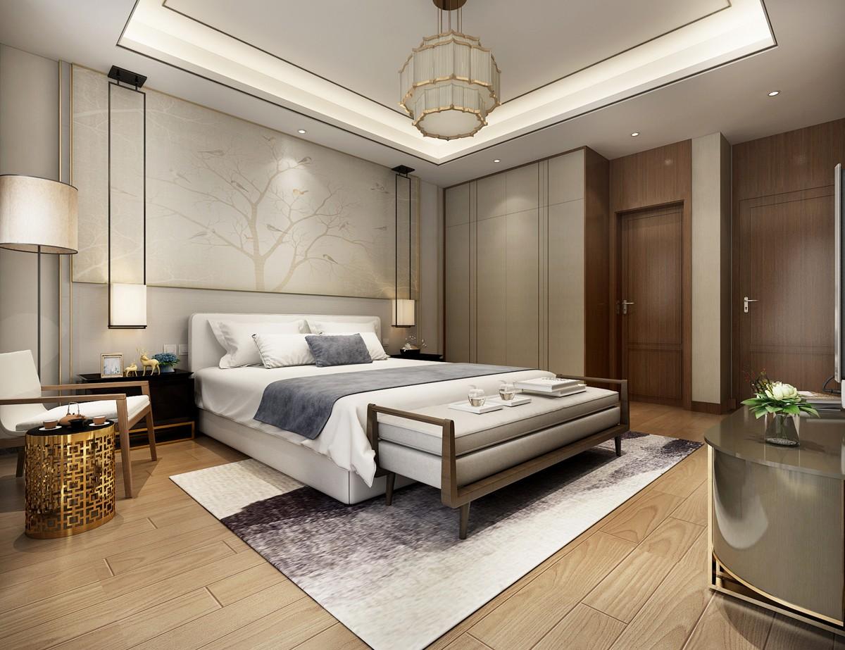 简约中式别墅卧室装修效果图