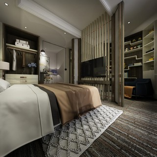 都市时尚现代风卧室隔断装修效果图