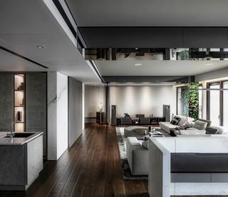 大户型现代简约风格客厅过道装修效果图