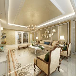 奢华欧式风格三居客厅吊顶装修效果图