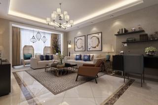 126平米混搭风格客厅装修效果图