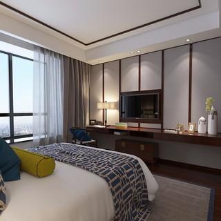 新中式风格卧室电视墙装修效果图