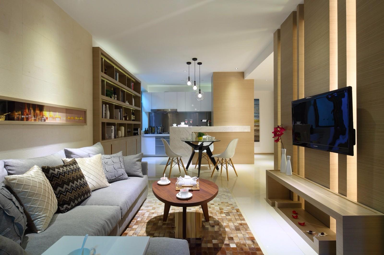 现代简约二居客厅装修效果图