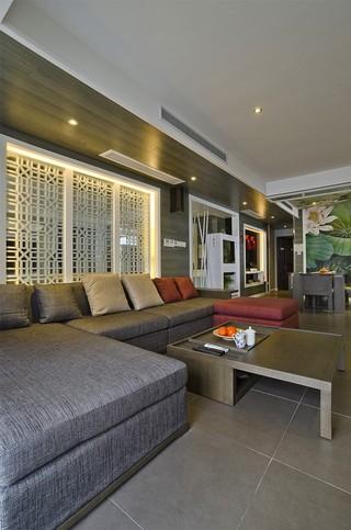 现代中式沙发背景墙装修效果图