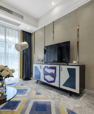100㎡时尚现代风电视背景墙装修效果图