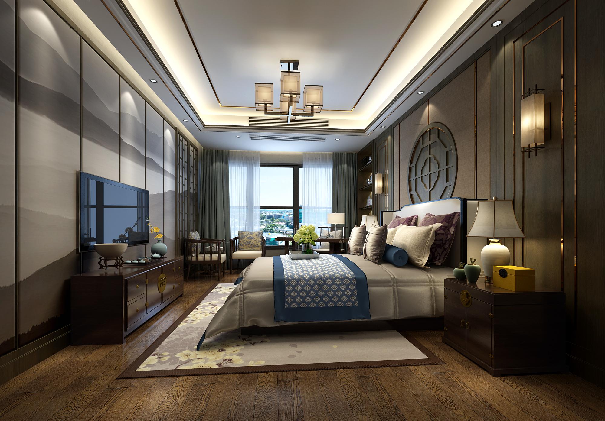 新中式风格四房卧室装修效果图