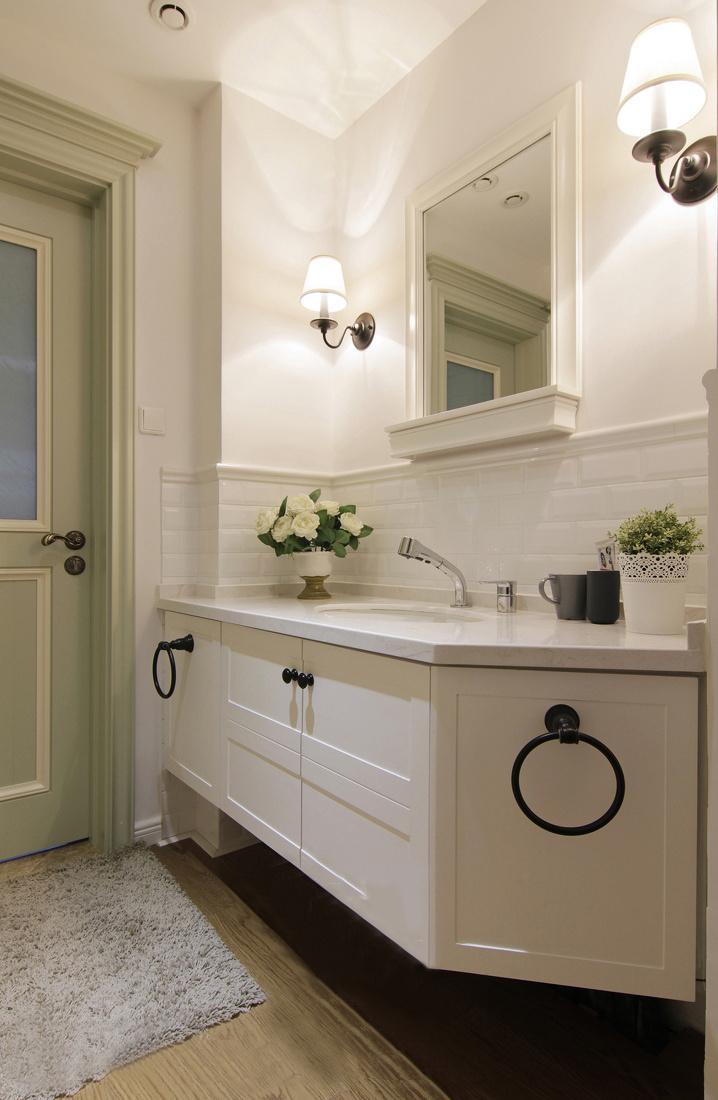 110平美式风格洗手台装修效果图