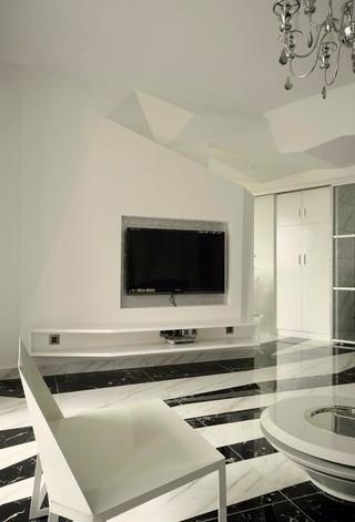 黑白简约现代风格电视背景墙装修效果图