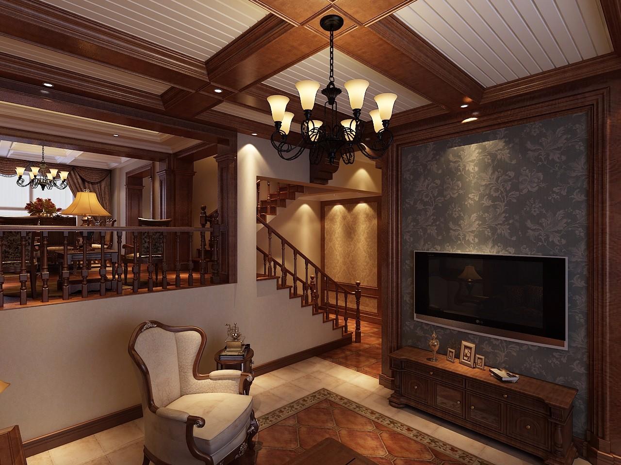 古典风格别墅客厅吊顶装修效果图