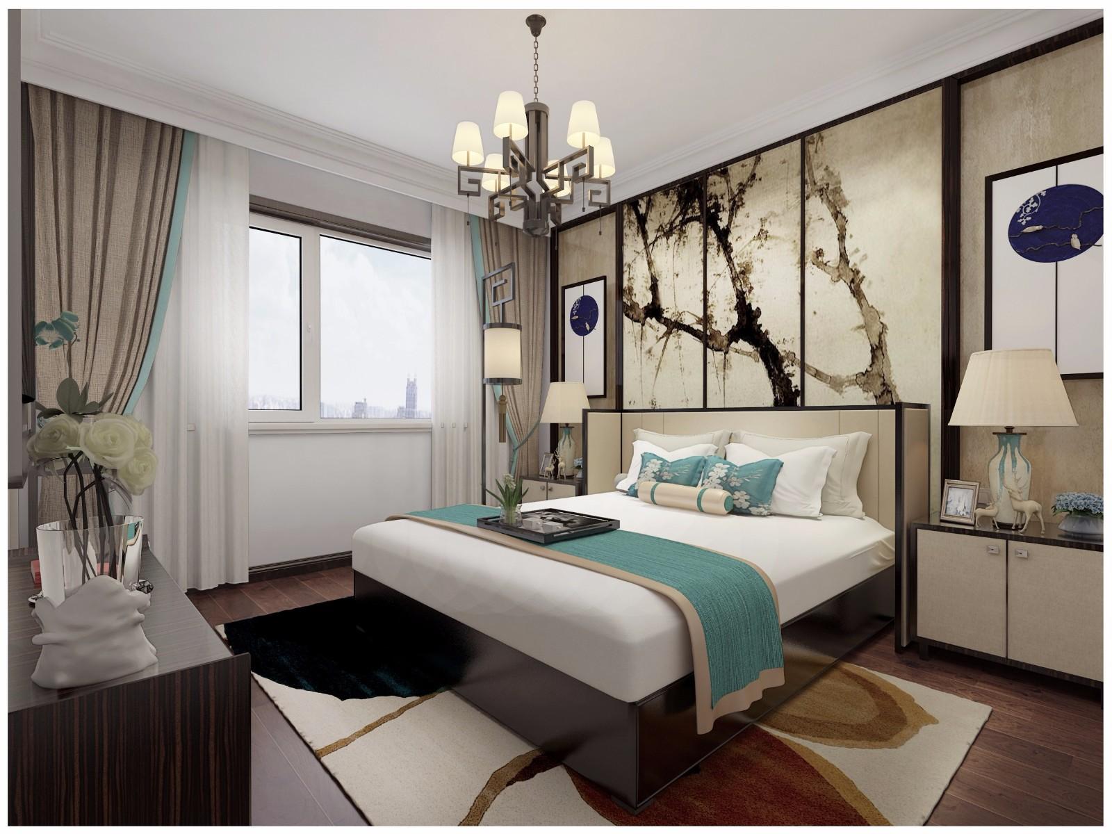 95㎡新中式风格卧室装修效果图