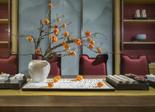 新中式别墅样板房装修茶室小景
