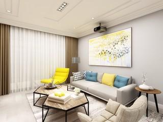 90平米简约风格沙发背景墙装修效果图