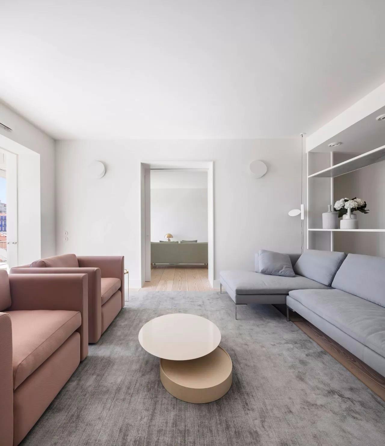 极简风格公寓起居室装修效果图