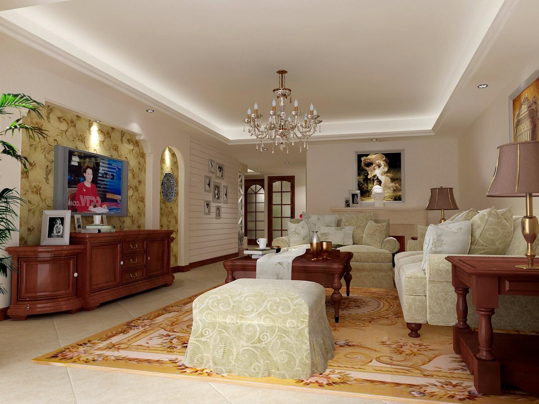 138㎡美式风格客厅装修效果图