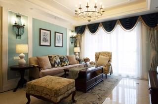 120平美式风格客厅吊顶装修效果图