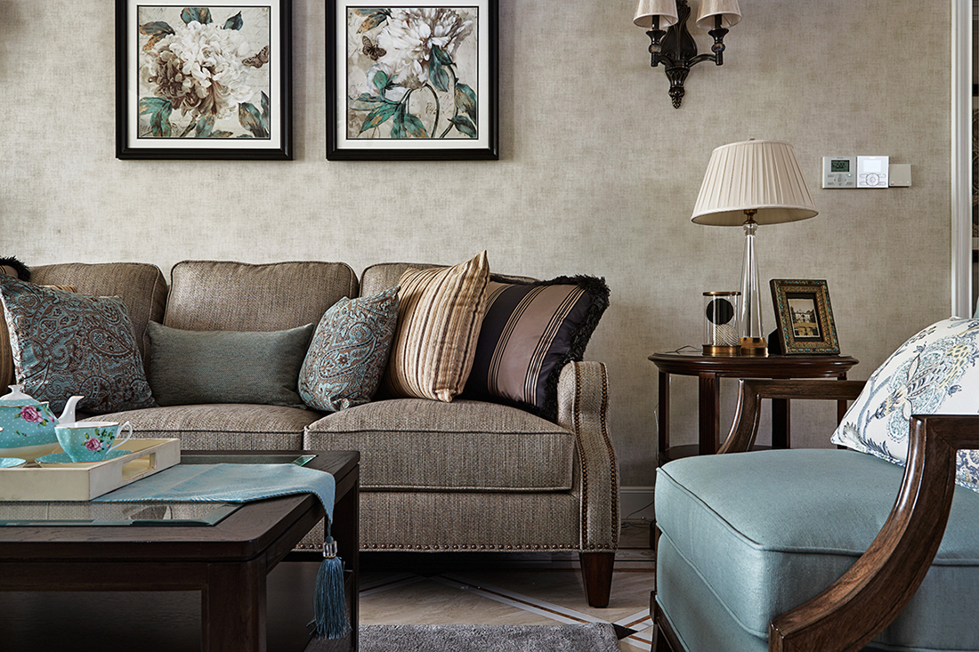 复古美式风格装修沙发设计图