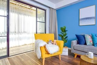 蓝调北欧风二居装修黄色沙发椅设计图
