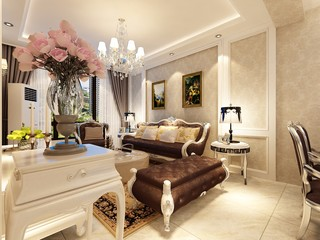 110平米欧式风格沙发背景墙装修效果图