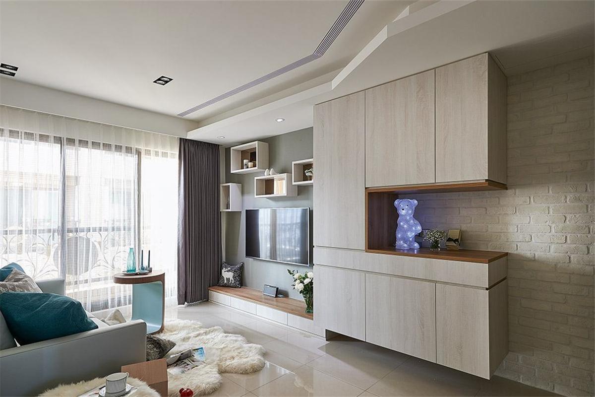 现代北欧风格二居客厅吊顶装修效果图