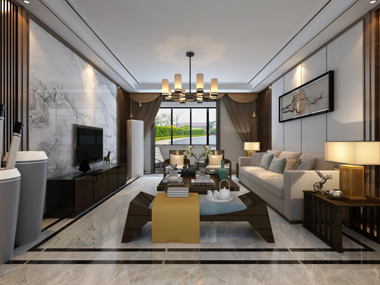 156平米新中式客厅装修效果图