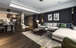 100平现代风格沙发背景墙装修效果图