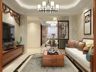 120㎡新中式风格客厅装修效果图