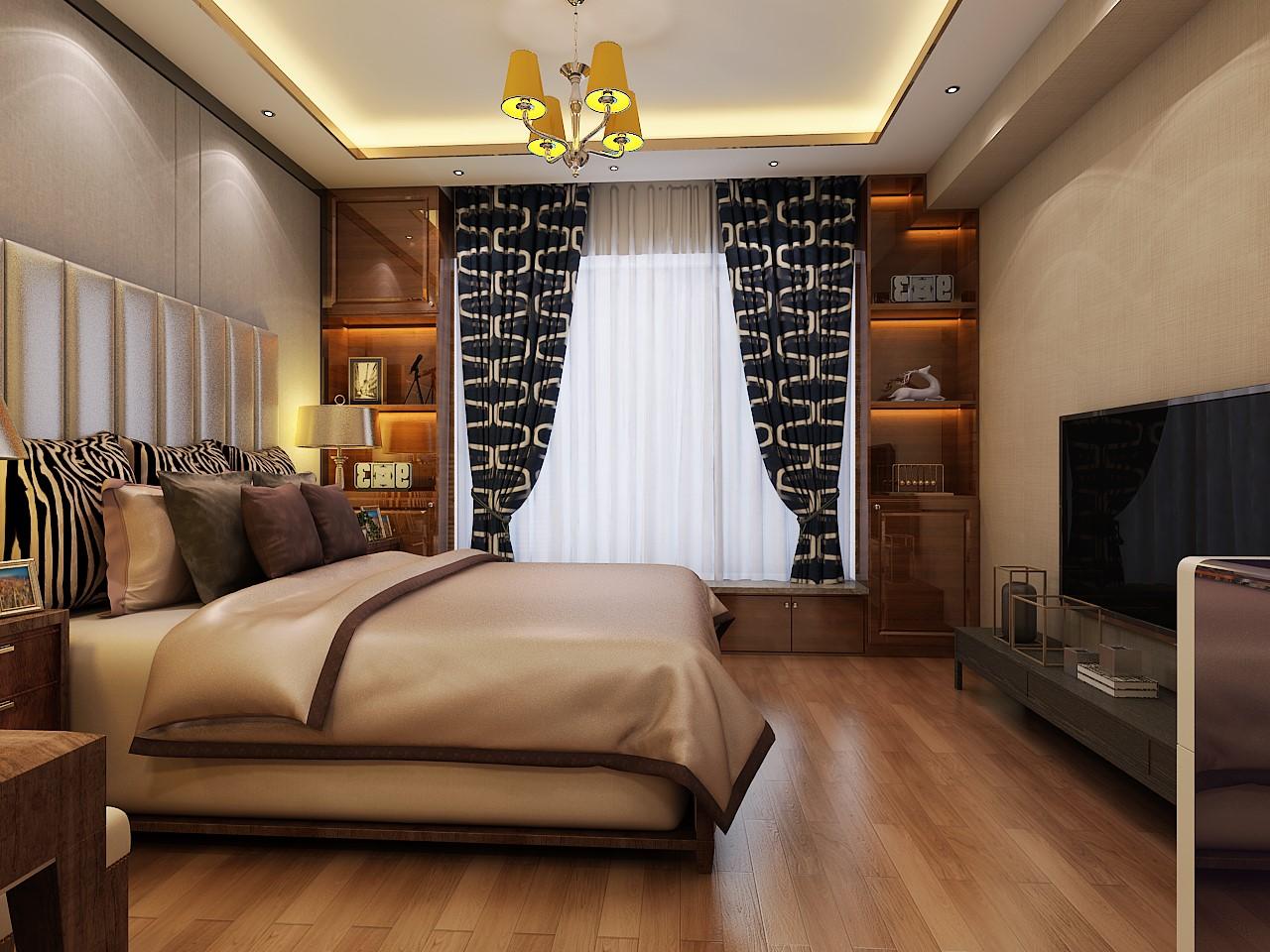 130㎡港式风格卧室装修效果图